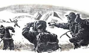 Black and white illustration shows three climbers in mid-twentieth century gear on a snowy mountainside; one points and one looks at a yeti figure in the distance.