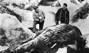 Still from a black and white movie; two men in climbing gear stand in a snowy mountain scene, looking down at a giant, hairy, bipedal animal covered in a tarpaulin and strapped to a stretcher.