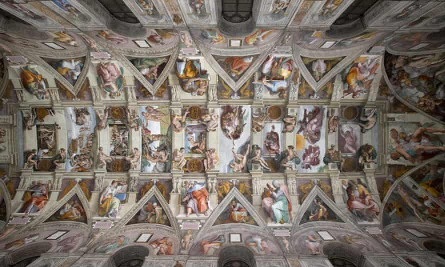 A view of Michelangelo's frescoe The Creation of Adam in the Sistine Chapel with a new LED lighting display in Vatican City, 29 October 2014.