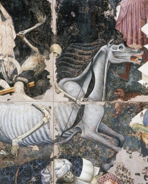 Death on horseback firing an arrow, detail from The Triumph of Death, 1446, fresco by the Master of the Triumph of Death