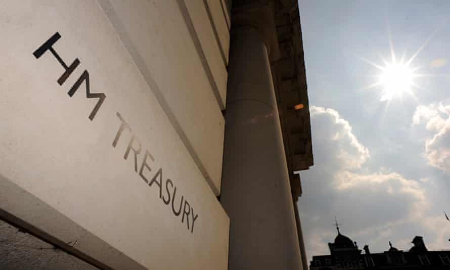 A general view shows the sign outside the Treasury building in London