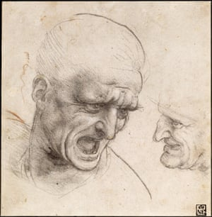 Study of Two Warriors' Heads for the Battle of Anghiari, Leonardo da Vinci.