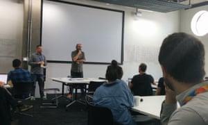 Dan Sinker and Trei Brundrett running their session at MozFest
