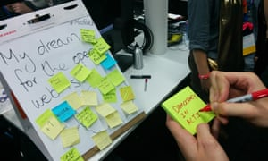 """Guardian developer Will Franklin filling in a sign for """"My dream for the open web"""""""