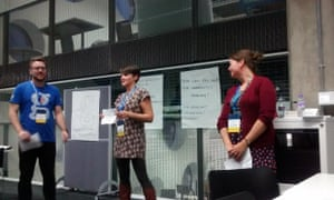 """Matt Andrews, Wendy Orr and Laura Oliver of the Guardian, presenting """"Moderation in Moderation"""""""
