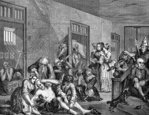 The Rake's Progress  - In Bedlam  - (1735) by William Hogarth.