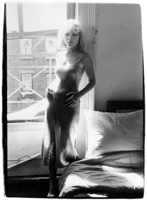Debbie Harry on the Bowery in New York wearing a Stephen Sprouse dress, one of his earliest creations, in the mid-seventies.