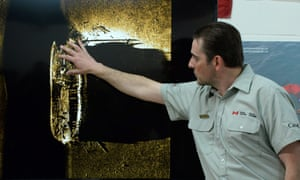 Ryan Harris explains the find from the Victoria Strait expedition during a a news conference in Ottawa.