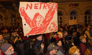 Budapest, Hungary: people march in protest against the government's proposed internet tax