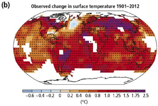 Observed temperature rises globally