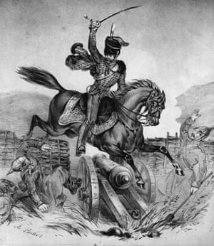 English cavalry officer James Thomas Brudenell, 7th Earl of Cardigan, charges the Russian guns at Balaklava during the Crimean War.