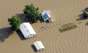 An aerial view of a farm near Rock Port, Missouri submerged in flood waters