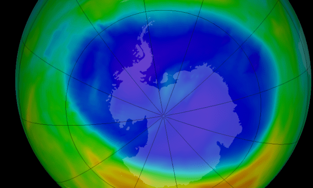Ozone layer hole above Antarctica on Sept. 11, 2014.