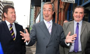Ukip leader Nigel Farage with his candidate for South Yorkshire police and crime commissioner, Jack Clarkson (right). Photograph: Lynne Cameron/PA