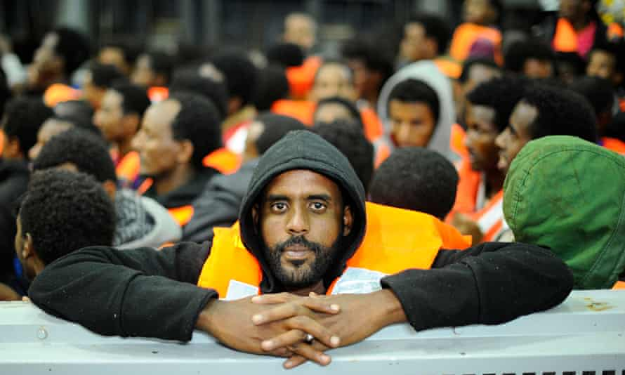 Migrants from Sub-Saharian areas on a rescue boat of Italy's Navy ship San Giorgio