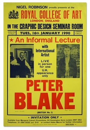 Poster for a lecture by Peter Blake by Nigel Robinson, 1990.