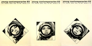 Triple poster shown in London Underground for Young Contemporaries exhibition by Mike Foreman, 1963.
