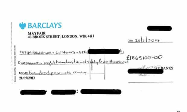 Cheque supplied by Arron Banks as proof of paying tax