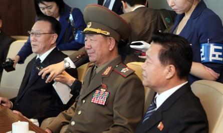Kim Yang-gon, left, Hwang Pyong-so and Choe Ryong-hae at the meeting with South Korea's unification minister, Ryoo Kihl-jae  in Incheon.