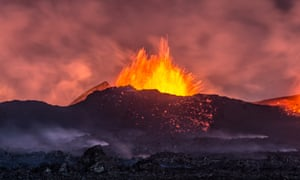 A spectacular volcanic eruption seen from a distance in Holuhraun, Iceland