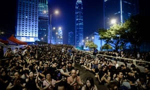 Pro-democracy demonstrators gather for a night rally in Hong Kong last week.