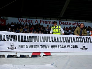 Newcastle United supporters display a banner showing their results in 2014