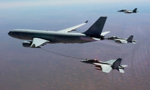 An RAAF Super Hornet refuels en route to the Middle East.