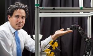Neuroscientist Dr Aldo Faisal with his eye-tracking system