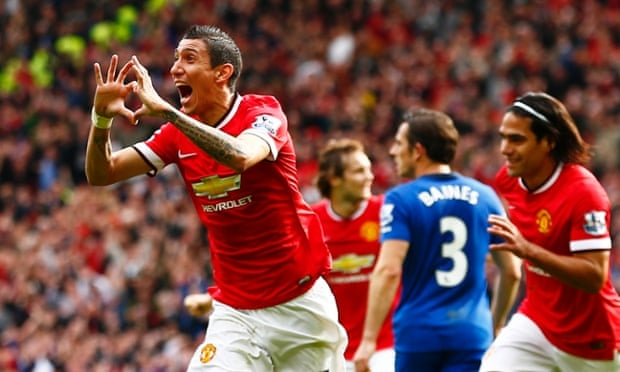 Manchester United's Angel Di Maria celebrates scoring against Everton.
