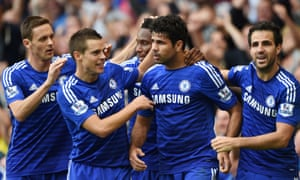 Diego Costa celebrates scoring the second goal.