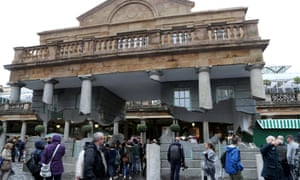 Alex Chinneck's illusory, hovering installation at Covent Garden Market in London
