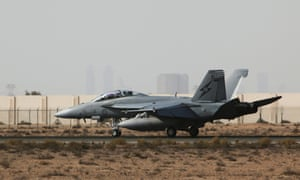 An RAAF Super Hornet at a base in the Middle East.