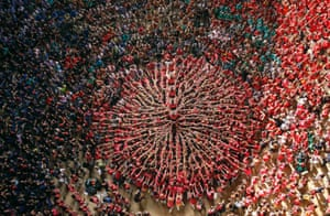 Castellers Colla Vella Xiquets de Valls form a human tower called 'castell' during a biannual competition in Tarragona city