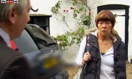 Sky reporter Martin Brunt confronts Brenda Leyland at her house in Leicestershire.