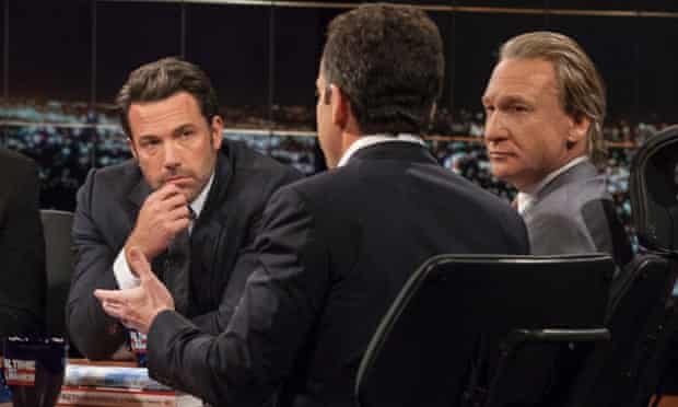 Bill Maher and Ben Affleck look on as Sam Harris, author of Waking Up: A Guide to Spirituality Without Religion, speaks during Real Time With Bill Maher.