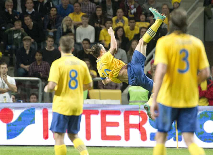 Zlatan Ibrahimovic scores his spectacular fourth goal against England in November 2012.