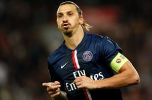 Zlatan Ibrahimovic celebrates after scoring in the Ligue 1 win over St Etienne earlier this season.