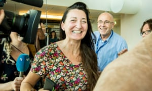 May-Britt Moser arrives at the celebration party in the Norwegian University of Science and Technology  in Trondheim