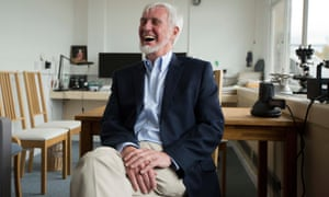 John O'Keefe laughs as he is interviewed in an office he uses at the University College London