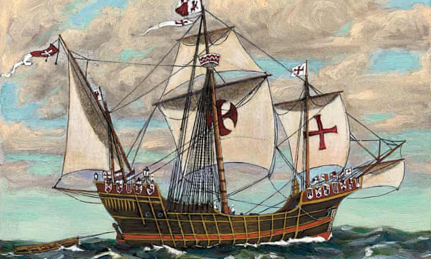 Painting of the Santa Maria, part of the fleet of Christopher Columbus