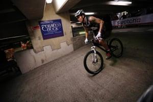 Pro rider Danny Butler speeds down a ramp