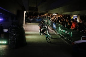 Liam Phillips, the world BMX champion, on his way to beating Whyte during their semi-final