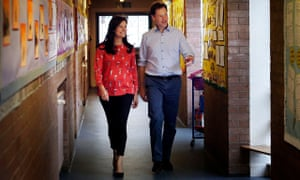 Nick Clegg and his wife, Miriam González Durántez, visit Castlehill primary school in Glasgow