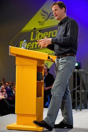 Nick Clegg speaks during a question and answer session at the Liberal Democrat party conference in Glasgow.