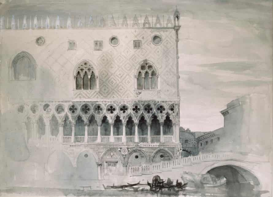 Ruskin's study of the exterior of the Ducal Palace, Venice (1865).