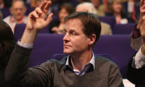 Nick Clegg votes on an amendment at the Liberal Democrat conference in Glasgow.