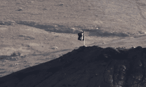Isis flag outside Kobani