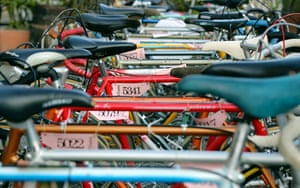 Bicycles are parked ahead of the race waiting for their riders