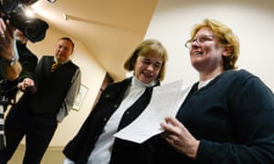 Suzanne Marelius and Kelli Frame apply for a marriage license.