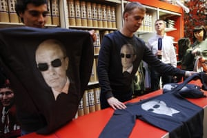 Hoodies and sweatshirts with an image of Russian president Vladimir Putin on sale at the GUM department store
